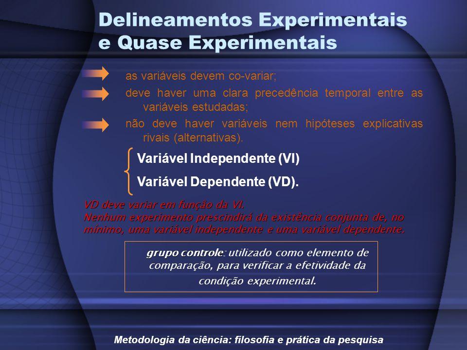 Delineamentos Experimentais e Quase Experimentais Variável Independente (VI) Variável Dependente (VD). as variáveis devem co-variar; deve haver uma cl