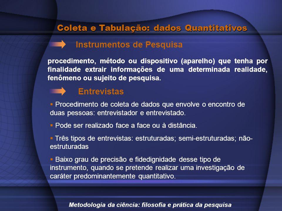 Coleta e Tabulação: dados Quantitativos Instrumentos de Pesquisa Metodologia da ciência: filosofia e prática da pesquisa procedimento, método ou dispo