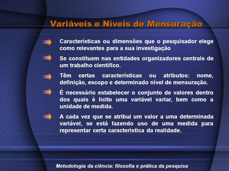 Variáveis e Níveis de Mensuração Características ou dimensões que o pesquisador elege como relevantes para a sua investigação Se constituem nas entida