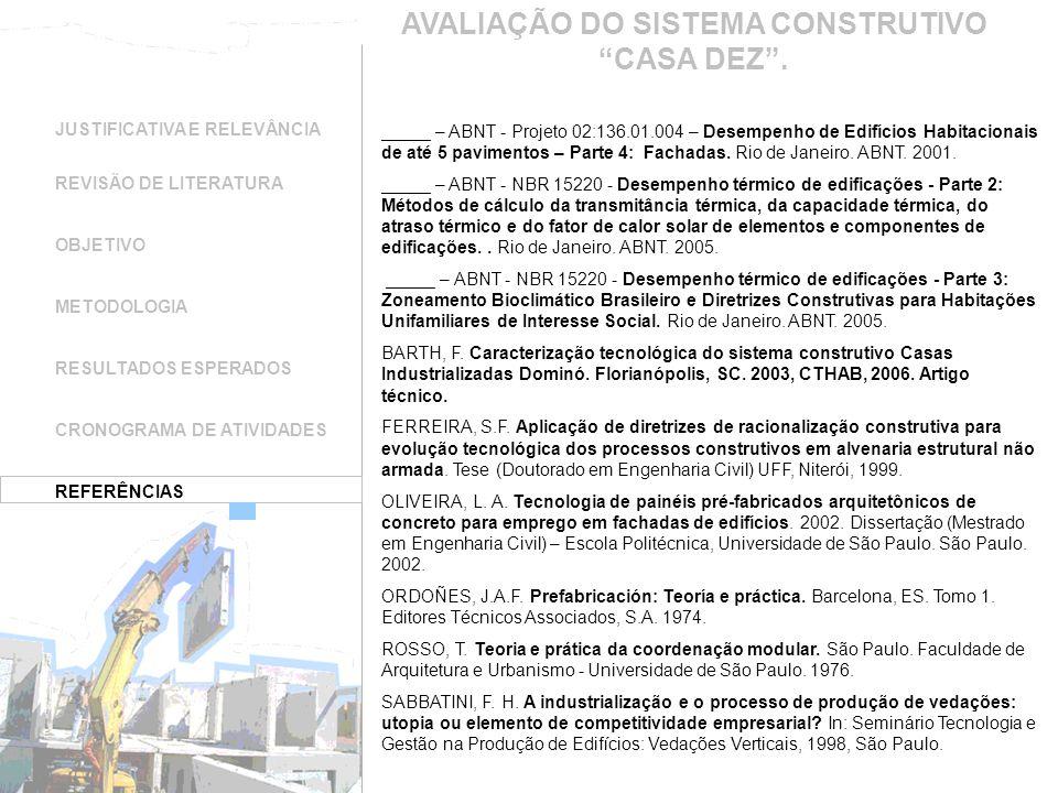 JUSTIFICATIVA E RELEVÂNCIA REVISÃO DE LITERATURA OBJETIVO METODOLOGIA RESULTADOS ESPERADOS CRONOGRAMA DE ATIVIDADES REFERÊNCIAS _____ – ABNT - Projeto