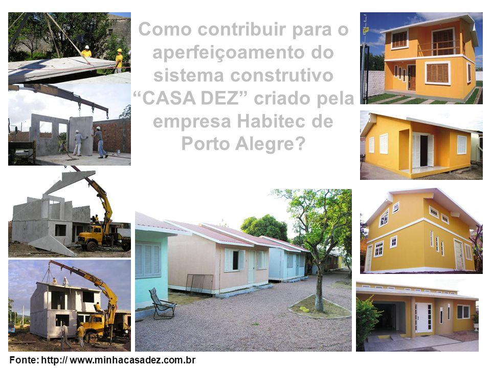 Como contribuir para o aperfeiçoamento do sistema construtivo CASA DEZ criado pela empresa Habitec de Porto Alegre? Fonte: http:// www.minhacasadez.co