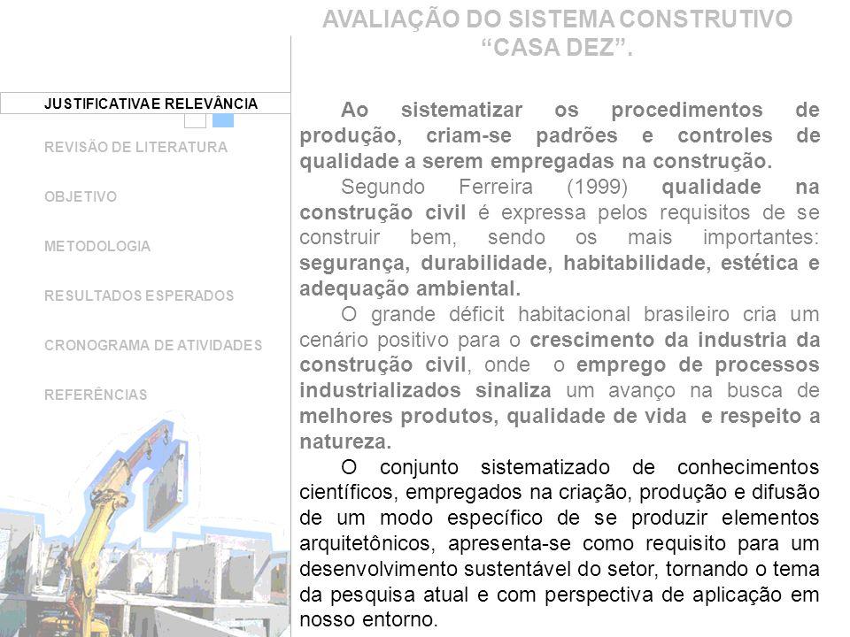 JUSTIFICATIVA E RELEVÂNCIA REVISÃO DE LITERATURA OBJETIVO METODOLOGIA RESULTADOS ESPERADOS CRONOGRAMA DE ATIVIDADES REFERÊNCIAS AVALIAÇÃO DO SISTEMA CONSTRUTIVO CASA DEZ.