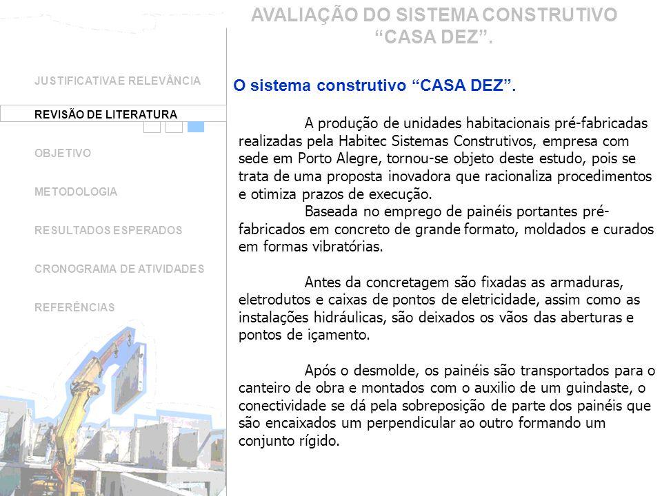 JUSTIFICATIVA E RELEVÂNCIA REVISÃO DE LITERATURA OBJETIVO METODOLOGIA RESULTADOS ESPERADOS CRONOGRAMA DE ATIVIDADES REFERÊNCIAS AVALIAÇÃO DO SISTEMA C