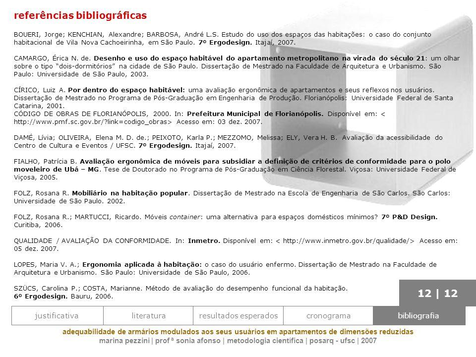 referências bibliográficas BOUERI, Jorge; KENCHIAN, Alexandre; BARBOSA, André L.S. Estudo do uso dos espaços das habitações: o caso do conjunto habita