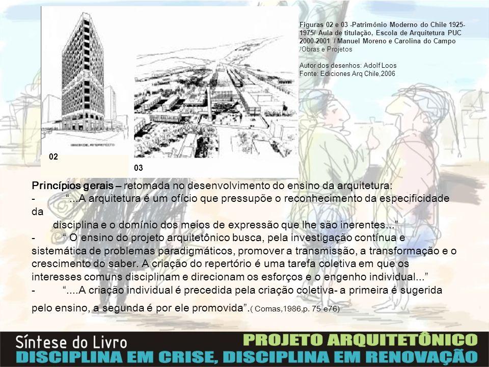 Princípios gerais – retomada no desenvolvimento do ensino da arquitetura: -...A arquitetura é um ofício que pressupõe o reconhecimento da especificida