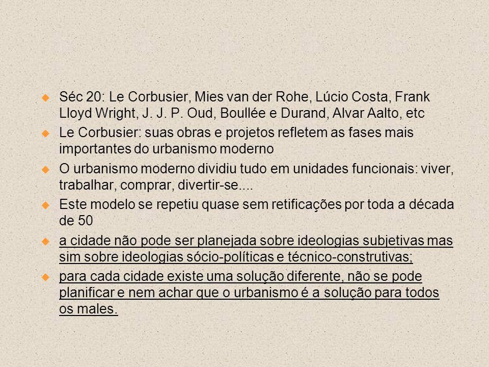 Séc 20: Le Corbusier, Mies van der Rohe, Lúcio Costa, Frank Lloyd Wright, J. J. P. Oud, Boullée e Durand, Alvar Aalto, etc Le Corbusier: suas obras e