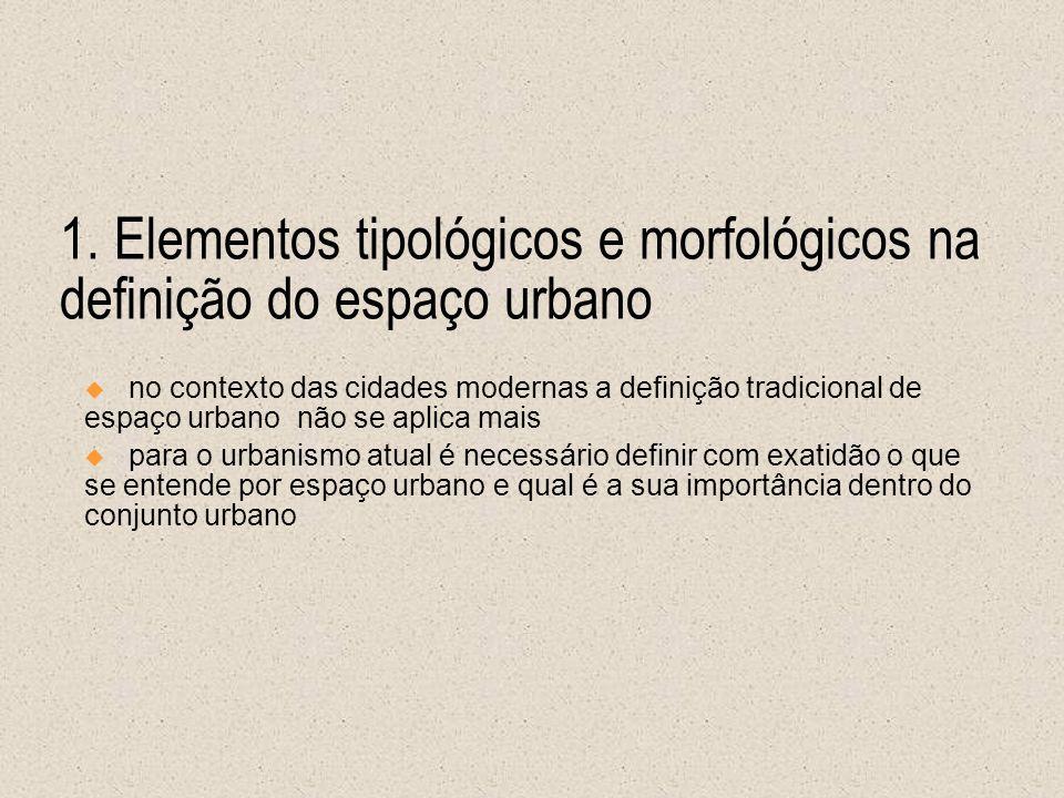 1. Elementos tipológicos e morfológicos na definição do espaço urbano no contexto das cidades modernas a definição tradicional de espaço urbano não se