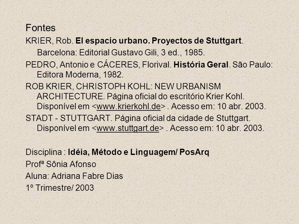 Fontes KRIER, Rob. El espacio urbano. Proyectos de Stuttgart. Barcelona: Editorial Gustavo Gili, 3 ed., 1985. PEDRO, Antonio e CÁCERES, Florival. Hist