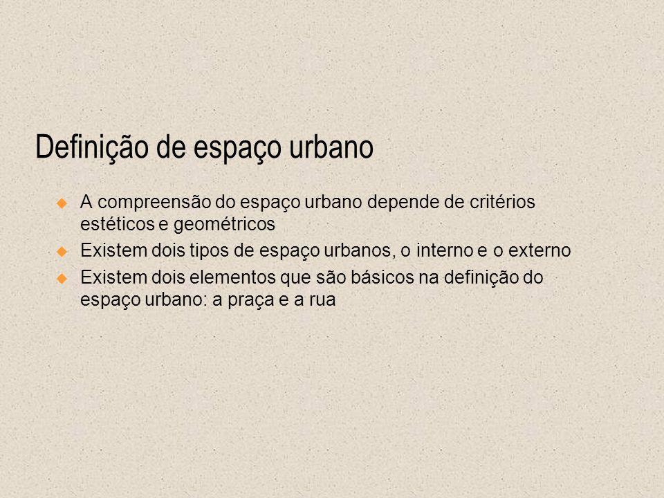Definição de espaço urbano A compreensão do espaço urbano depende de critérios estéticos e geométricos Existem dois tipos de espaço urbanos, o interno