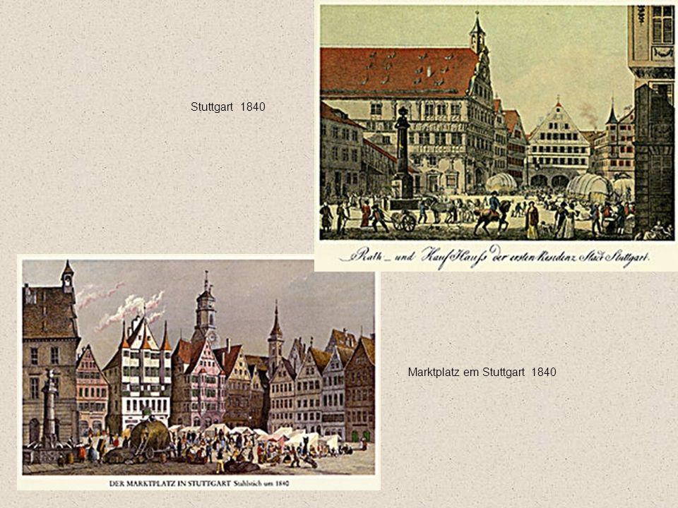 Stuttgart 1840 Marktplatz em Stuttgart 1840