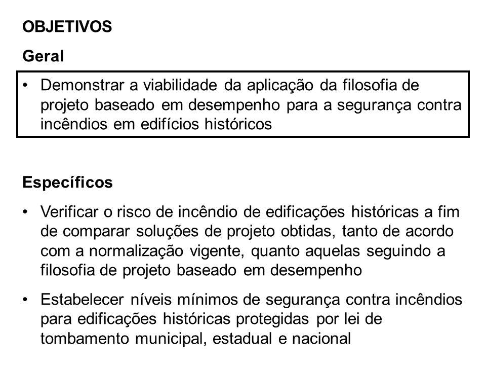 OBJETIVOS Geral Demonstrar a viabilidade da aplicação da filosofia de projeto baseado em desempenho para a segurança contra incêndios em edifícios his