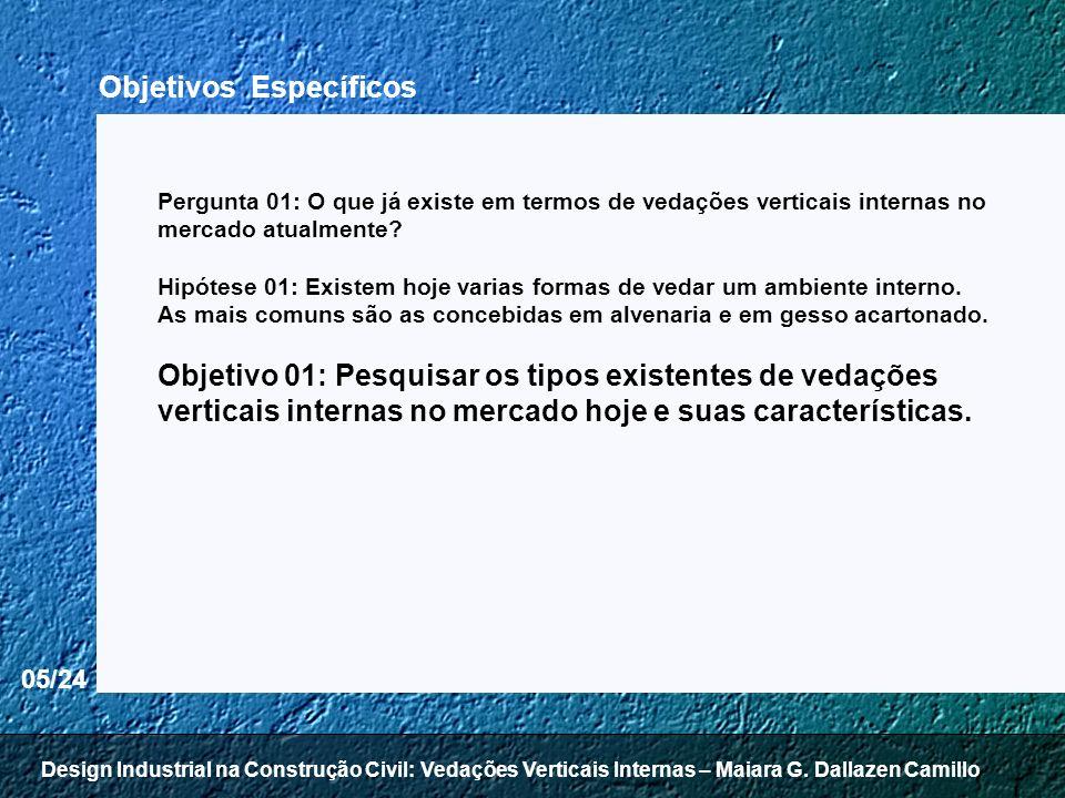 05/24 Pergunta 01: O que já existe em termos de vedações verticais internas no mercado atualmente? Hipótese 01: Existem hoje varias formas de vedar um