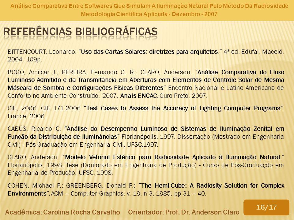 Análise Comparativa Entre Softwares Que Simulam A Iluminação Natural Pelo Método Da Radiosidade Metodologia Científica Aplicada - Dezembro - 2007 BITT