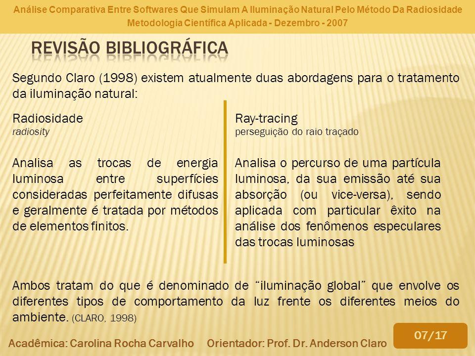 Análise Comparativa Entre Softwares Que Simulam A Iluminação Natural Pelo Método Da Radiosidade Metodologia Científica Aplicada - Dezembro - 2007 Acad