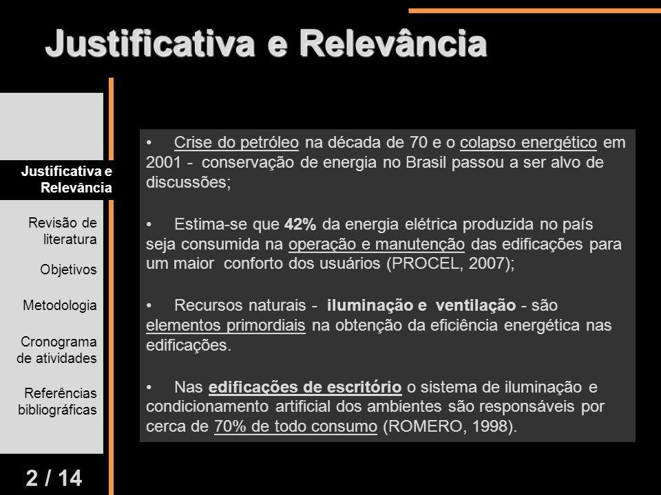 Justificativa e Relevância Revisão de literatura Objetivos Metodologia Cronograma de atividades Referências bibliográficas 2 / 14 Crise do petróleo na