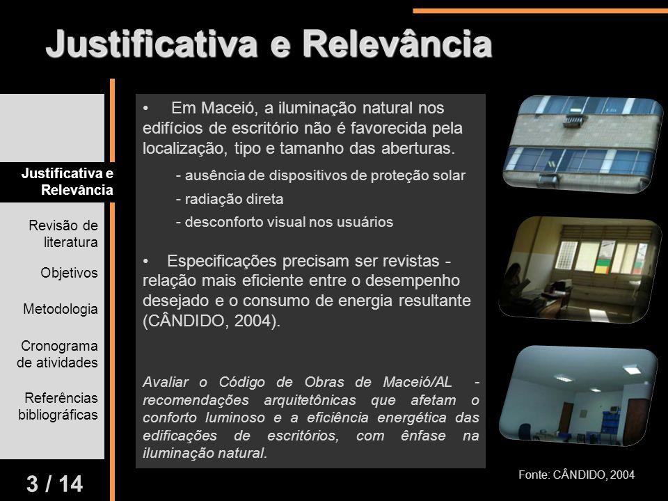 Revisão de literatura Cronograma de atividades Justificativa e Relevância Objetivos Metodologia Referências bibliográficas Em Maceió, a iluminação nat