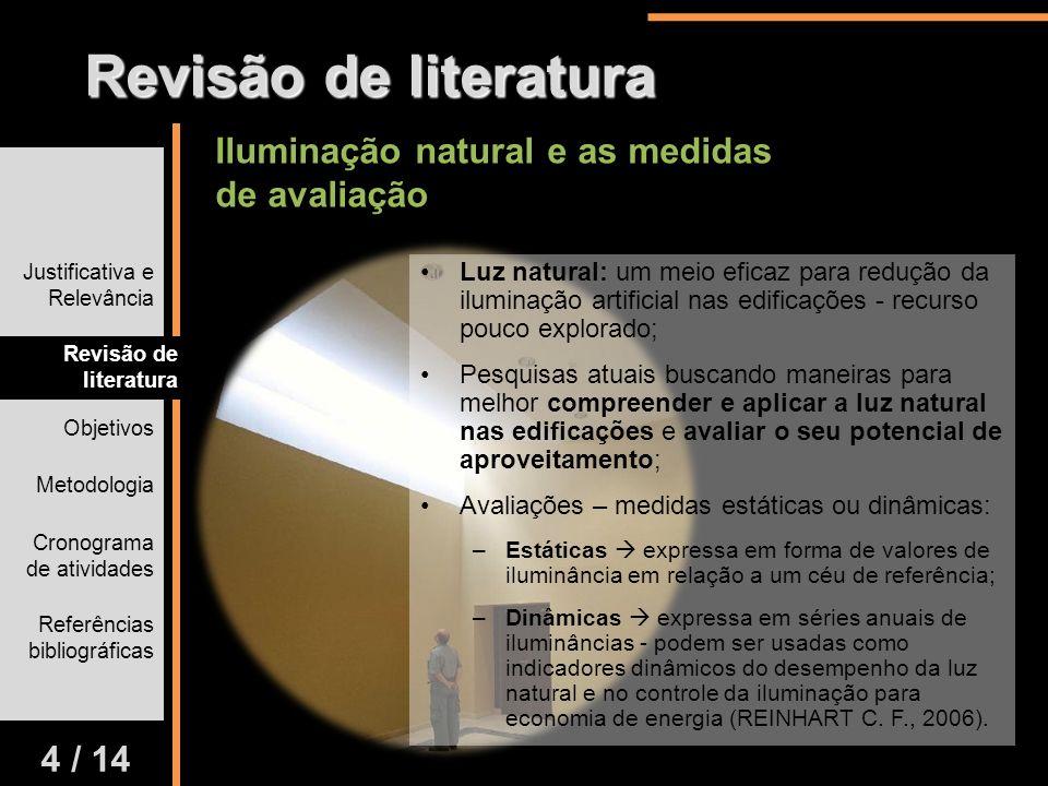 Justificativa e Relevância Revisão de literatura Objetivos Metodologia Cronograma de atividades Referências bibliográficas 4 / 14 Revisão de literatur