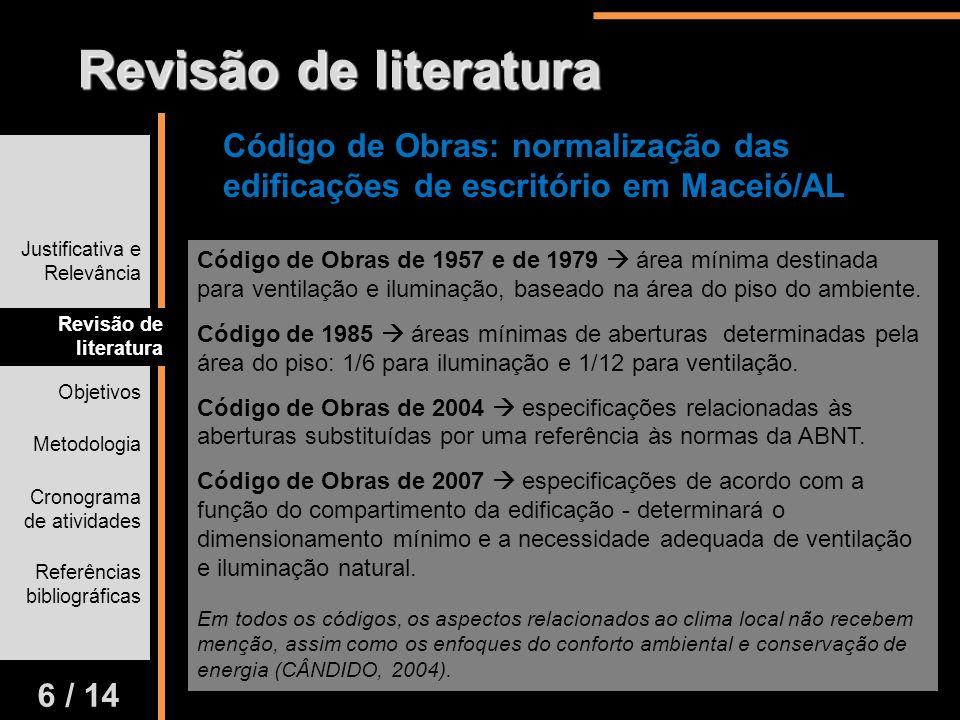 Justificativa e Relevância Revisão de literatura Objetivos Metodologia Cronograma de atividades Referências bibliográficas 6 / 14 Revisão de literatur