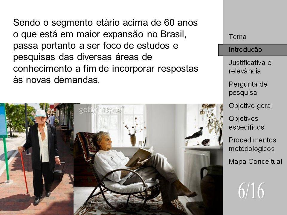 Sendo o segmento etário acima de 60 anos o que está em maior expansão no Brasil, passa portanto a ser foco de estudos e pesquisas das diversas áreas d