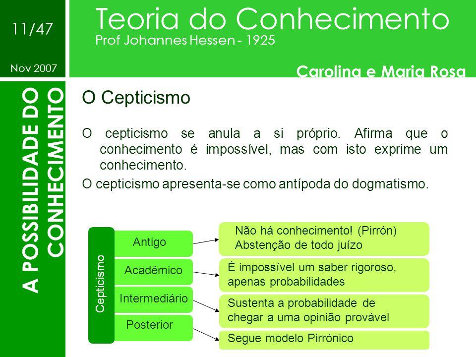 O Cepticismo Teoria do Conhecimento Prof Johannes Hessen - 1925 Carolina e Maria Rosa Nov 2007 11/47 A POSSIBILIDADE DO CONHECIMENTO O cepticismo se a