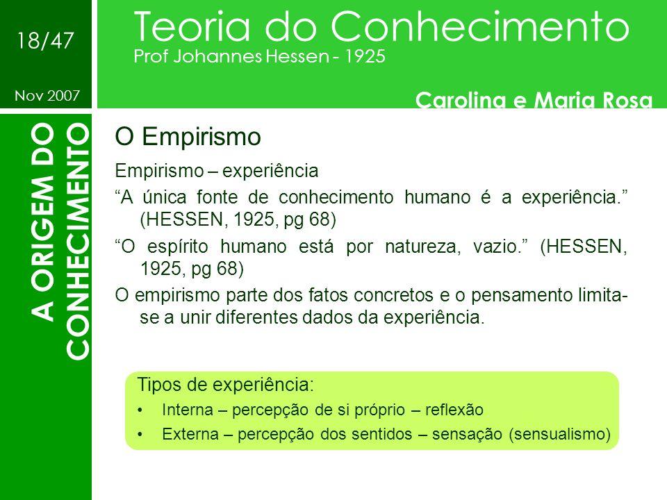 O Empirismo Teoria do Conhecimento Prof Johannes Hessen - 1925 Carolina e Maria Rosa Nov 2007 18/47 A ORIGEM DO CONHECIMENTO Empirismo – experiência A