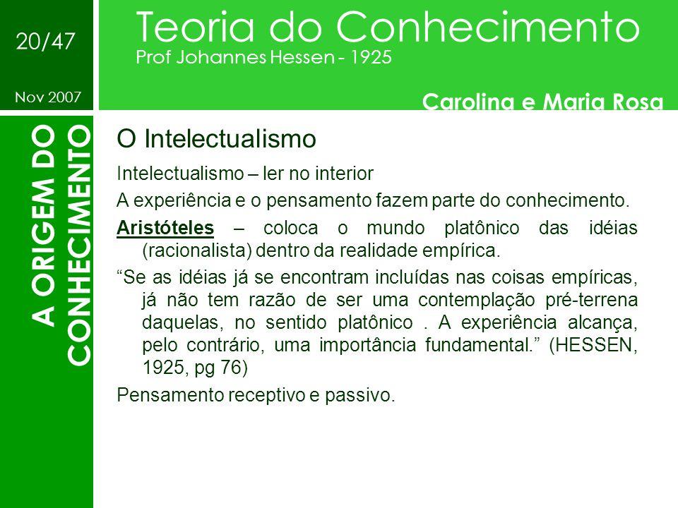 O Intelectualismo Teoria do Conhecimento Prof Johannes Hessen - 1925 Carolina e Maria Rosa Nov 2007 20/47 A ORIGEM DO CONHECIMENTO Intelectualismo – l