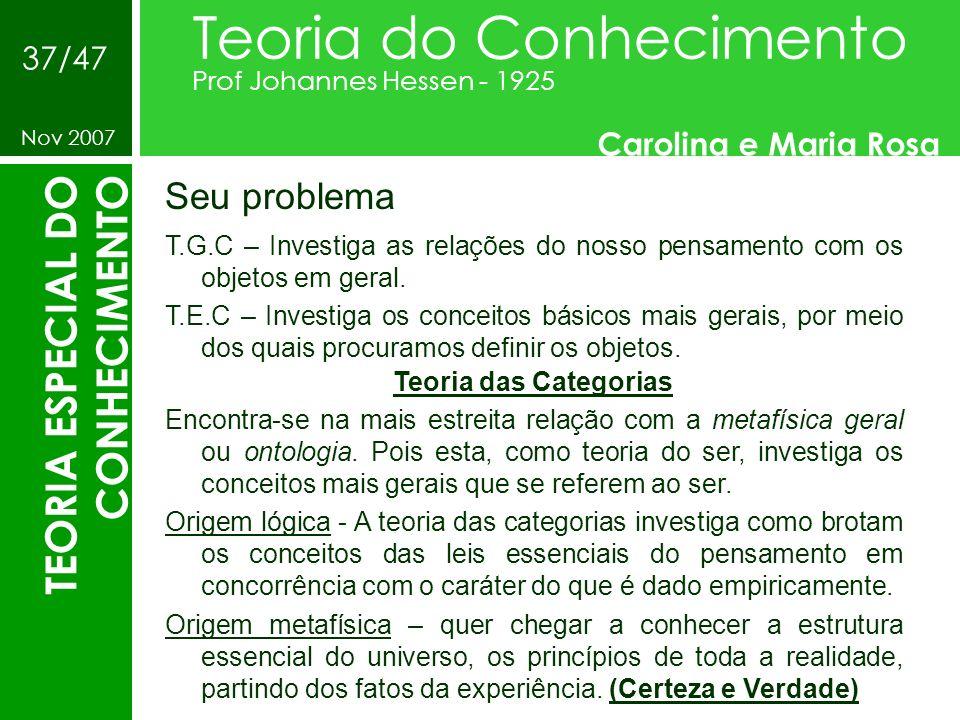 Seu problema Teoria do Conhecimento Prof Johannes Hessen - 1925 Carolina e Maria Rosa Nov 2007 37/47 TEORIA ESPECIAL DO CONHECIMENTO T.G.C – Investiga