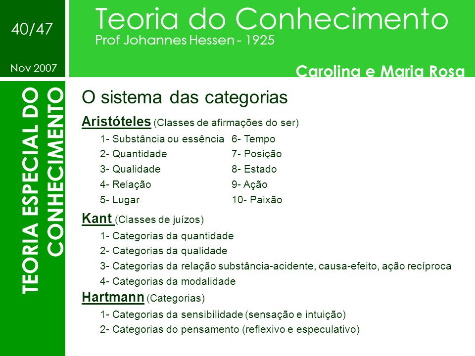 O sistema das categorias Teoria do Conhecimento Prof Johannes Hessen - 1925 Carolina e Maria Rosa Nov 2007 40/47 TEORIA ESPECIAL DO CONHECIMENTO Arist