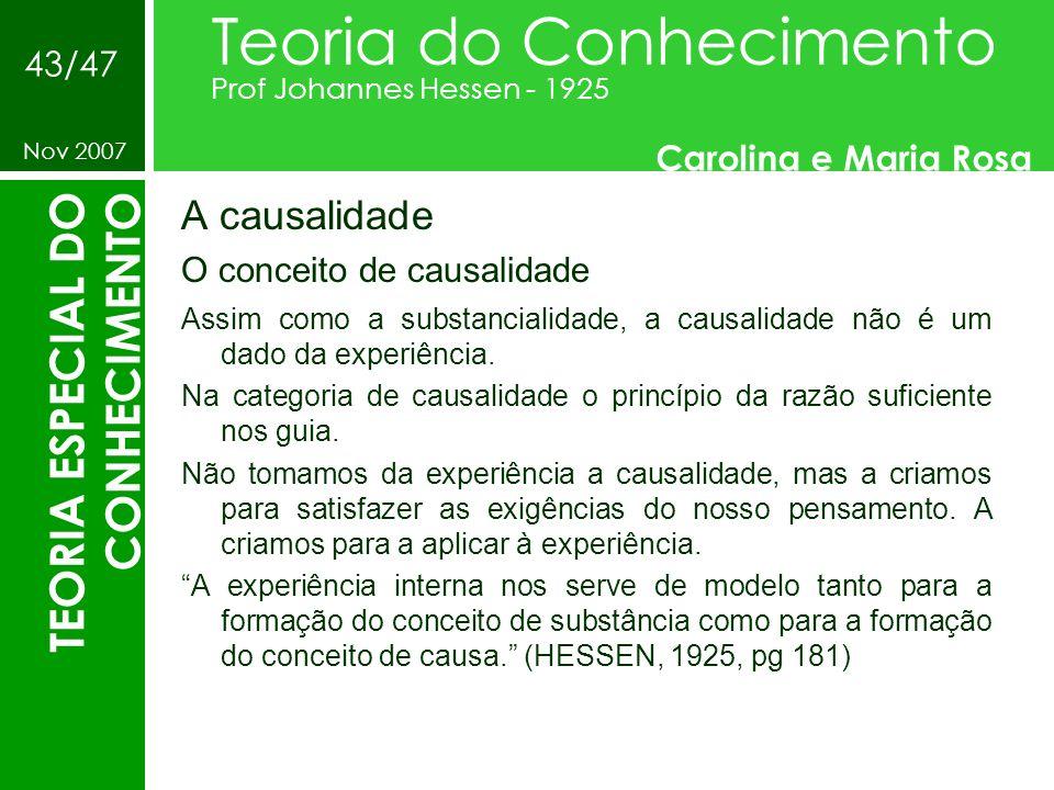A causalidade O conceito de causalidade Teoria do Conhecimento Prof Johannes Hessen - 1925 Carolina e Maria Rosa Nov 2007 43/47 TEORIA ESPECIAL DO CON