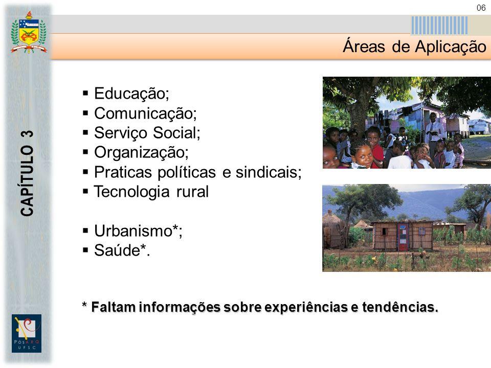 Áreas de Aplicação CAPÍTULO 3 Educação; Comunicação; Serviço Social; Organização; Praticas políticas e sindicais; Tecnologia rural Urbanismo*; Saúde*.