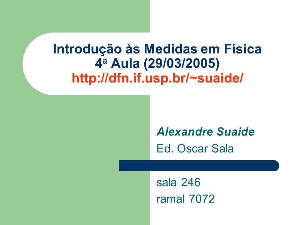 Alexandre Suaide Ed. Oscar Sala sala 246 ramal 7072 Introdução às Medidas em Física 4 a Aula (29/03/2005) http://dfn.if.usp.br/~suaide/