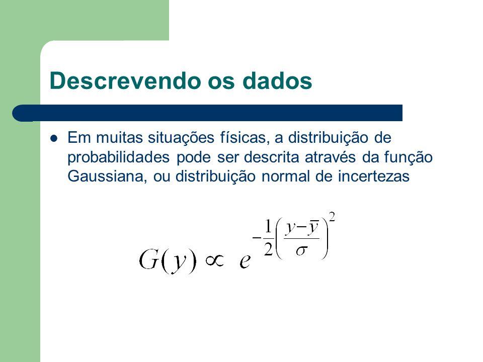 Descrevendo os dados Em muitas situações físicas, a distribuição de probabilidades pode ser descrita através da função Gaussiana, ou distribuição norm