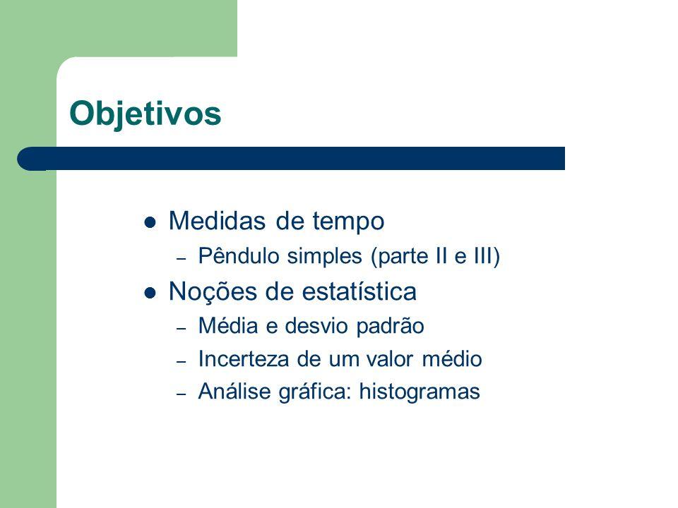 Objetivos Medidas de tempo – Pêndulo simples (parte II e III) Noções de estatística – Média e desvio padrão – Incerteza de um valor médio – Análise gr