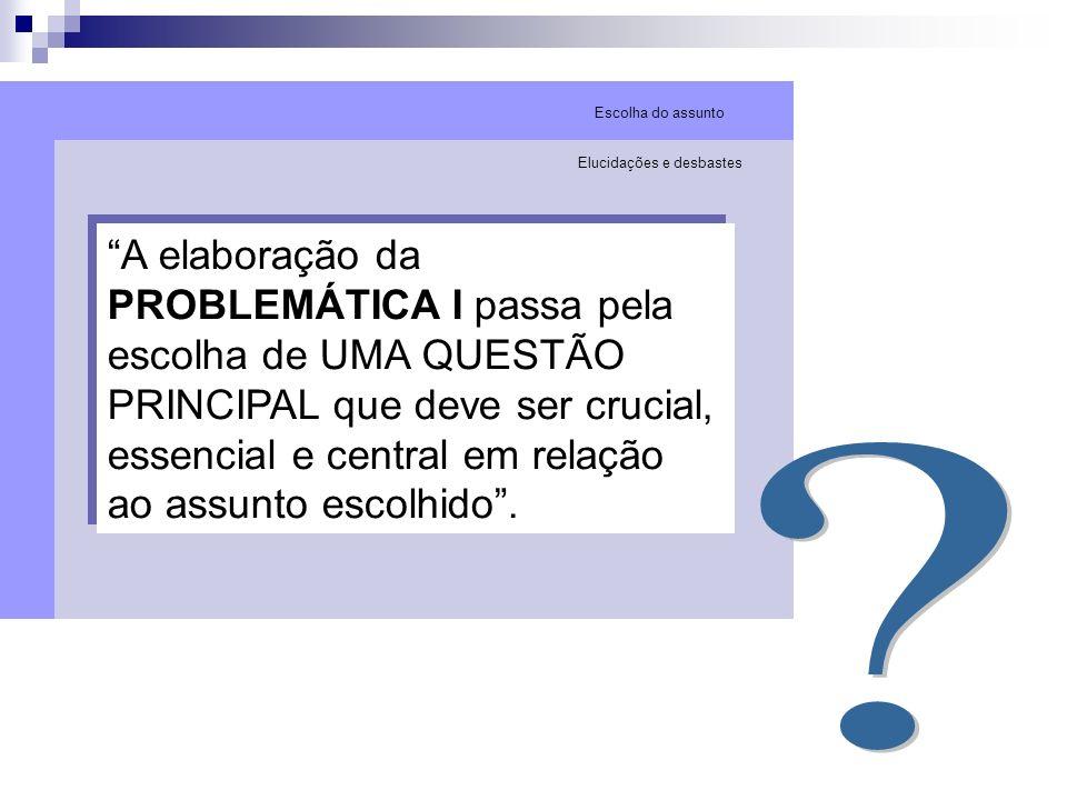 A elaboração da PROBLEMÁTICA I passa pela escolha de UMA QUESTÃO PRINCIPAL que deve ser crucial, essencial e central em relação ao assunto escolhido.