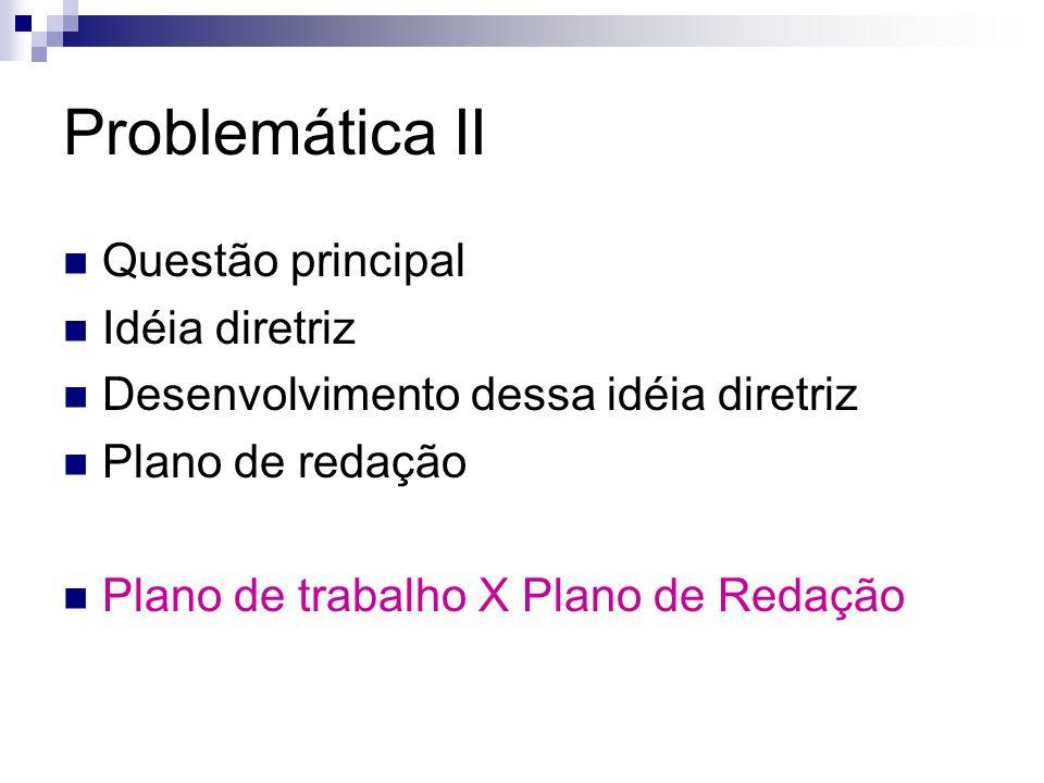 Problemática II Questão principal Idéia diretriz Desenvolvimento dessa idéia diretriz Plano de redação Plano de trabalho X Plano de Redação