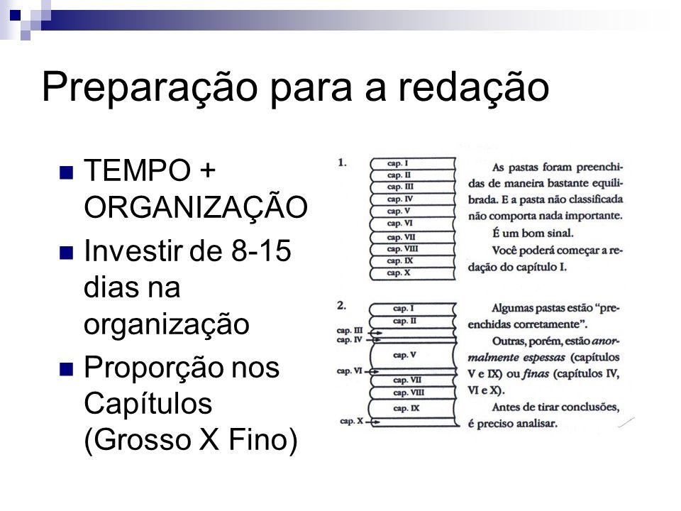 Preparação para a redação TEMPO + ORGANIZAÇÃO Investir de 8-15 dias na organização Proporção nos Capítulos (Grosso X Fino)
