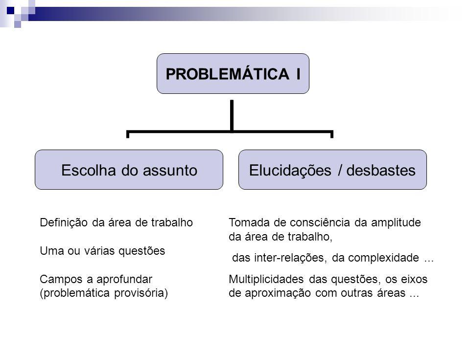 PROBLEMÁTICA I Escolha do assunto Elucidações / desbastes Definição da área de trabalho Uma ou várias questões Campos a aprofundar (problemática provi