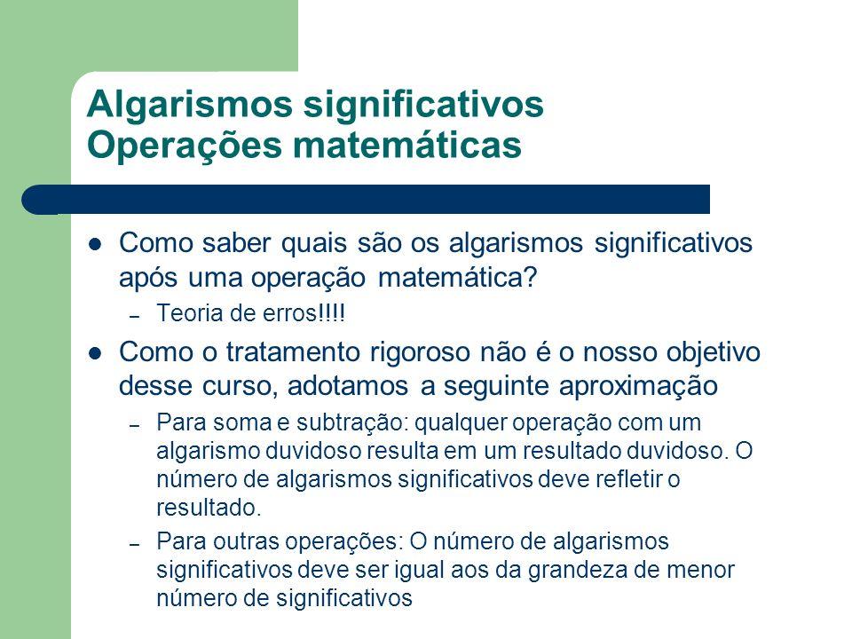 Algarismos significativos Operações matemáticas Como saber quais são os algarismos significativos após uma operação matemática? – Teoria de erros!!!!