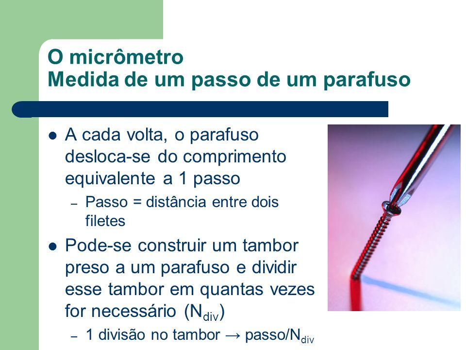 O micrômetro Medida de um passo de um parafuso A cada volta, o parafuso desloca-se do comprimento equivalente a 1 passo – Passo = distância entre dois