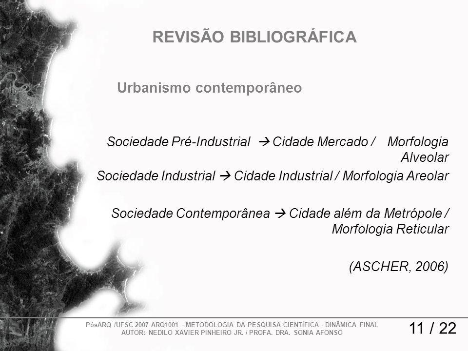 11 / 22 REVISÃO BIBLIOGRÁFICA PósARQ /UFSC 2007 ARQ1001 - METODOLOGIA DA PESQUISA CIENTÍFICA - DINÂMICA FINAL AUTOR: NEDILO XAVIER PINHEIRO JR. / PROF