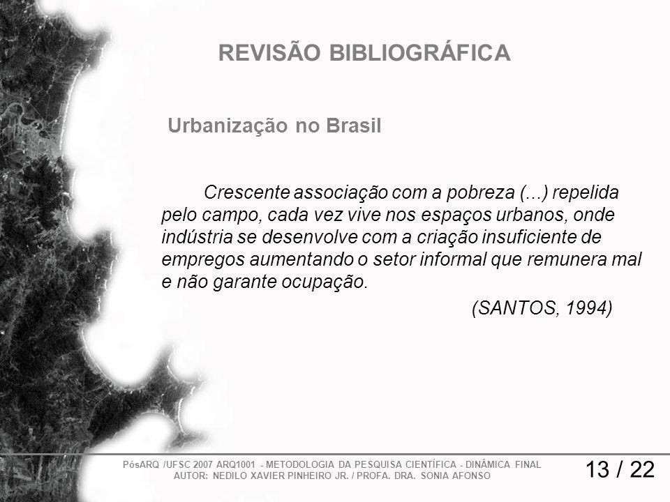 13 / 22 REVISÃO BIBLIOGRÁFICA PósARQ /UFSC 2007 ARQ1001 - METODOLOGIA DA PESQUISA CIENTÍFICA - DINÂMICA FINAL AUTOR: NEDILO XAVIER PINHEIRO JR. / PROF