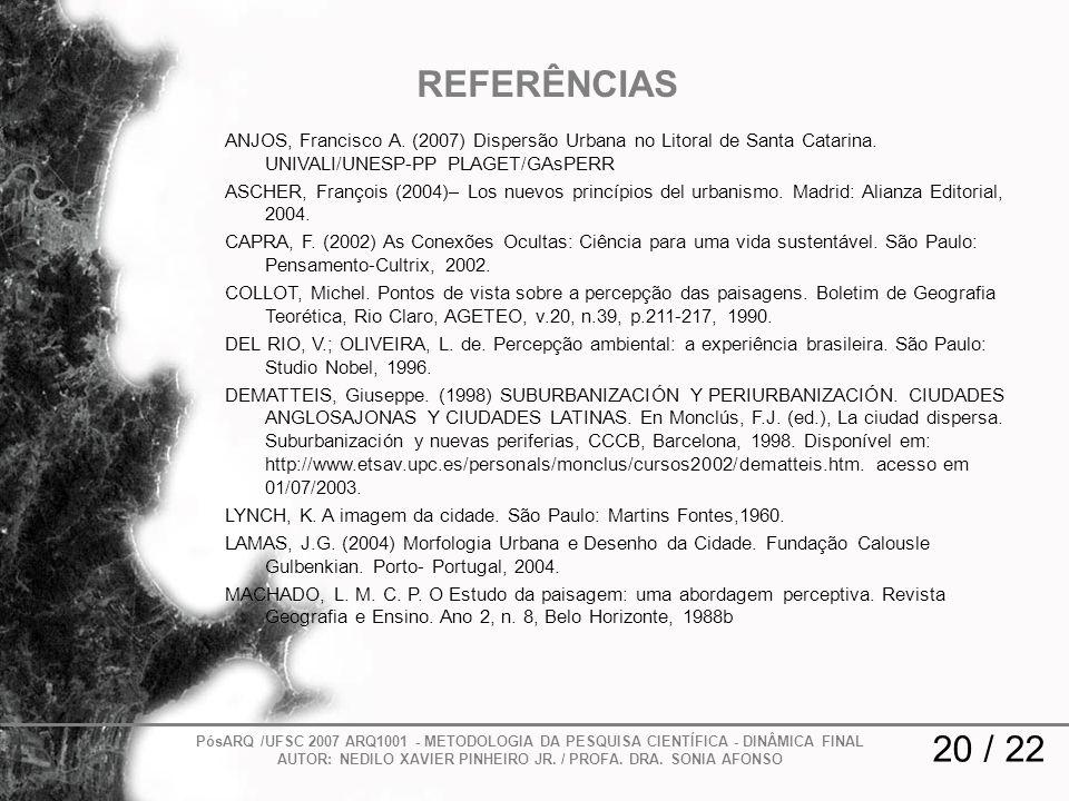 REFERÊNCIAS ANJOS, Francisco A. (2007) Dispersão Urbana no Litoral de Santa Catarina. UNIVALI/UNESP-PP PLAGET/GAsPERR ASCHER, François (2004)– Los nue