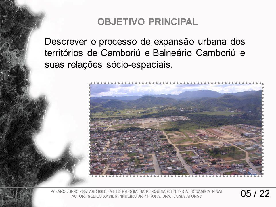 Descrever o processo de expansão urbana dos territórios de Camboriú e Balneário Camboriú e suas relações sócio-espaciais. 05 / 22 OBJETIVO PRINCIPAL P