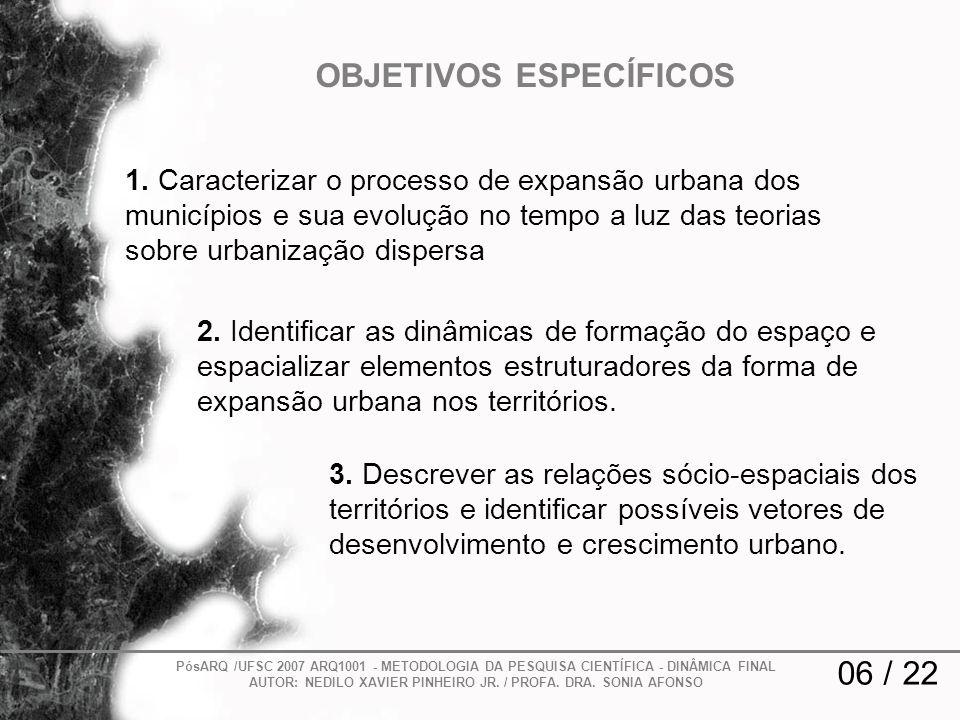 1. Caracterizar o processo de expansão urbana dos municípios e sua evolução no tempo a luz das teorias sobre urbanização dispersa 2. Identificar as di