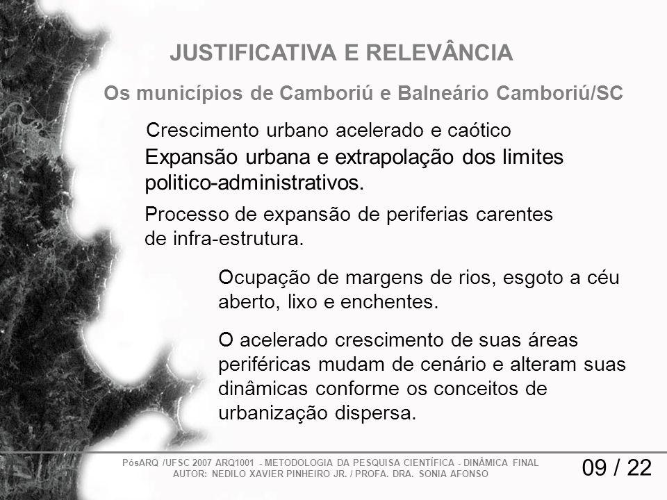 09 / 22 JUSTIFICATIVA E RELEVÂNCIA Processo de expansão de periferias carentes de infra-estrutura. PósARQ /UFSC 2007 ARQ1001 - METODOLOGIA DA PESQUISA