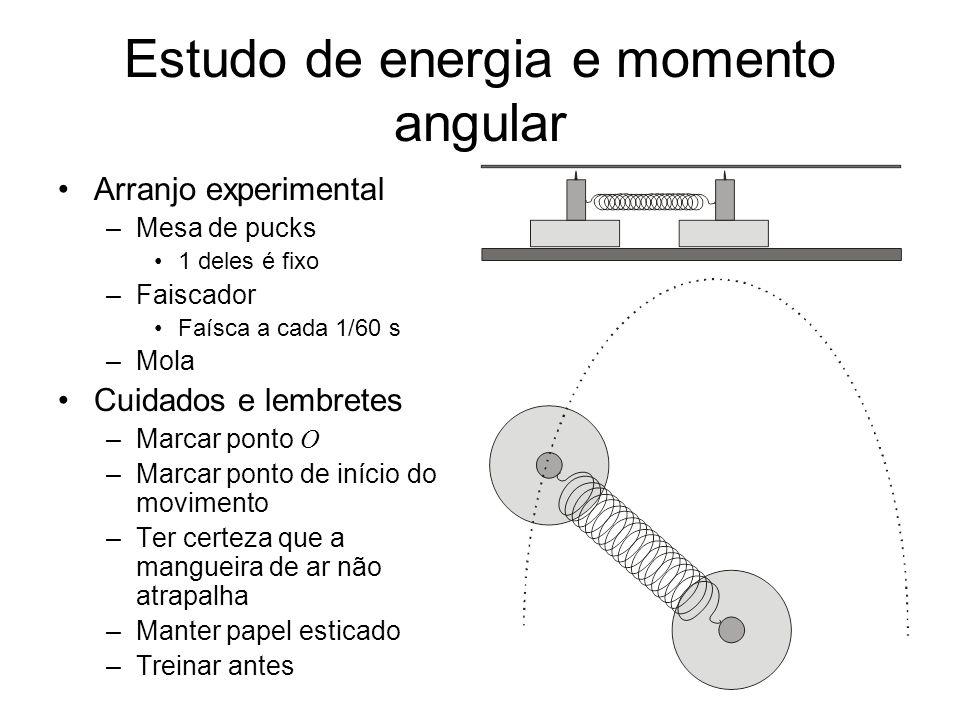 Estudo de energia e momento angular Arranjo experimental –Mesa de pucks 1 deles é fixo –Faiscador Faísca a cada 1/60 s –Mola Cuidados e lembretes –Mar