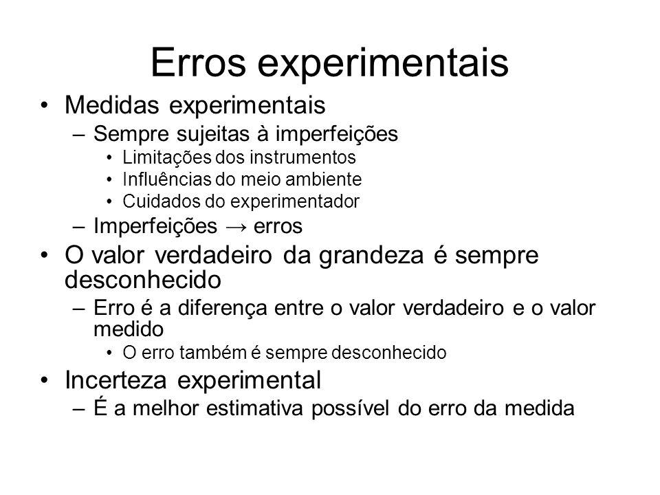 Erros experimentais Medidas experimentais –Sempre sujeitas à imperfeições Limitações dos instrumentos Influências do meio ambiente Cuidados do experim