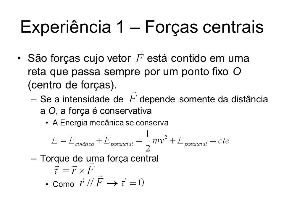 Experiência 1 – Forças centrais São forças cujo vetor está contido em uma reta que passa sempre por um ponto fixo O (centro de forças). –Se a intensid