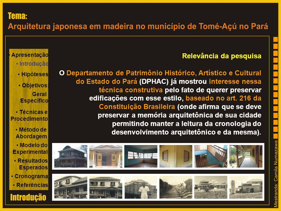 Relevância da pesquisa O Departamento de Patrimônio Histórico, Artístico e Cultural do Estado do Pará (DPHAC) já mostrou interesse nessa técnica const