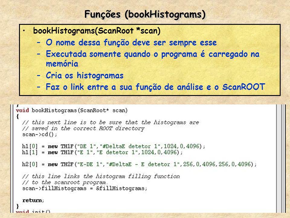 Funções (bookHistograms) bookHistograms(ScanRoot *scan) –O nome dessa função deve ser sempre esse –Executada somente quando o programa é carregado na